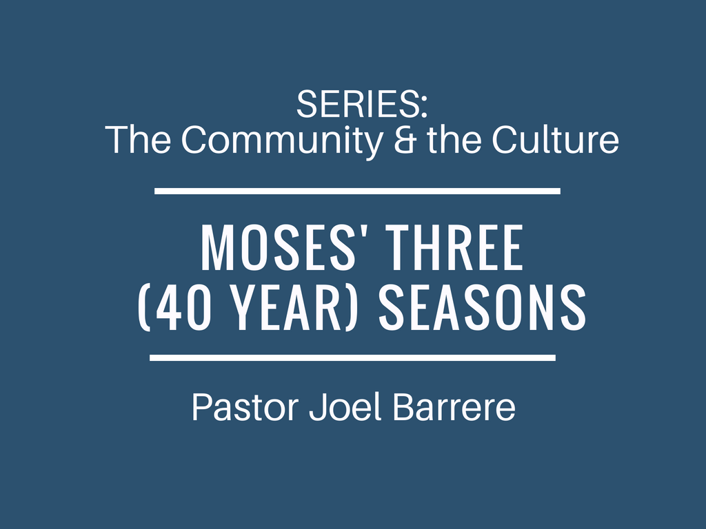 The Community and the Culture: Moses' three (40 year) seasons Image